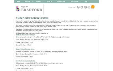Screenshot of Contact Page visitbradford.com - Visitor Information Centres - captured March 6, 2016