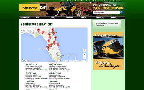 Screenshot of Contact Page Locations Page ringpowerag.com - Florida Ag Tractors | Ring Power Agriculture - captured March 15, 2016