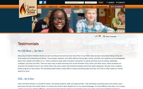 Screenshot of Testimonials Page ccshamilton.ca - Calvin Christian School  - Testimonials - captured Oct. 1, 2014