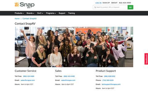 Screenshot of Contact Page snapav.com - SnapAV - contact us - Category - captured Feb. 24, 2019