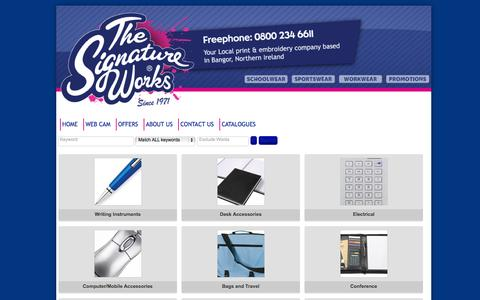 Screenshot of Products Page thesignatureworks.co.uk - Promotional Product Categories - captured Oct. 9, 2014