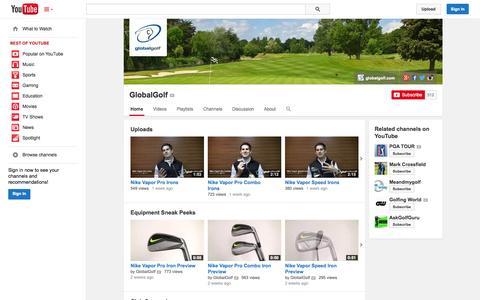 Screenshot of YouTube Page youtube.com - GlobalGolf  - YouTube - captured Oct. 22, 2014