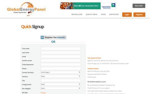 Screenshot of Signup Page globalenergypanel.com - Candidate Register - captured Dec. 9, 2015