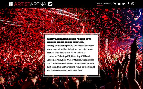Screenshot of Home Page artistarena.com - Artist Arena Official Website: The Global Expert for Direct-to-Fan Strategy and e-Commerce. - captured May 30, 2017