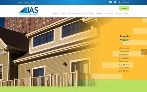 Screenshot of Home Page justastart.org - Just-A-Start - captured June 8, 2017