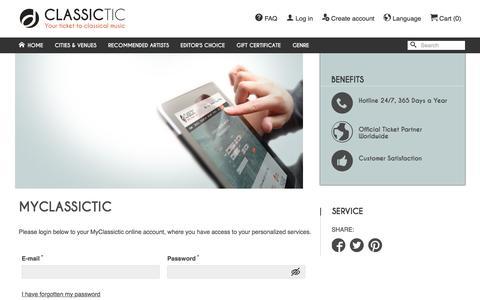 Screenshot of Login Page classictic.com - My Classictic – Log in – Classictic.com - captured Nov. 7, 2016