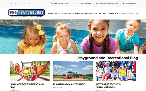 Screenshot of Blog proplaygrounds.com - Playground and Recreation Blog | Pro Playgrounds | The Play & Recreation Experts - captured July 16, 2016