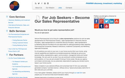 Screenshot of Jobs Page venture-pharmaceuticals.com - For Job Seekers - Become Our Sales Representative | Venture Pharmaceuticals Ltd - captured Oct. 7, 2014