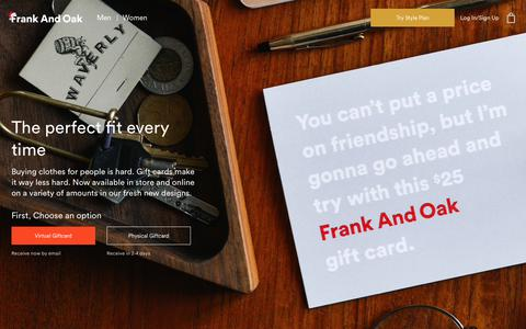 Buy Frank And Oak Gift Cards | Frank And Oak