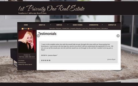 Screenshot of Testimonials Page buyingsellinghomes1.com captured Nov. 3, 2014