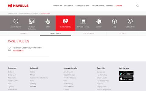 Screenshot of Case Studies Page havells.com - Sustainability - Havells India - captured Sept. 23, 2019