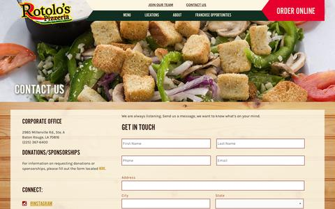 Screenshot of Contact Page rotolos.com - Contact Rotolo's Pizzeria | Rotolo's Corporate Office - captured Feb. 15, 2016