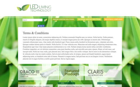 Screenshot of Terms Page ledlivingtechnology.com - LED Living Technology -   Terms & Conditions - captured July 14, 2018