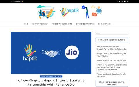 Screenshot of Blog haptik.ai - Haptik Blog - Building chatbots that work - captured April 5, 2019