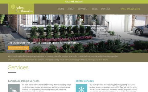 Screenshot of Home Page adenearthworks.com - Aden Earthworks   Landscape Design   Lawn and Garden Care in Toronto - captured Dec. 9, 2018