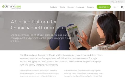 Screenshot of Products Page demandware.com - Unified Cloud Commerce Platform | Demandware - captured Sept. 21, 2016