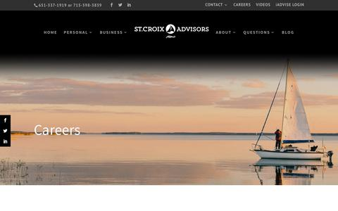Screenshot of Jobs Page stcroixadvisors.com - Careers | St. Croix Advisors | Independent Financial Planners in Hudson - captured Sept. 21, 2018