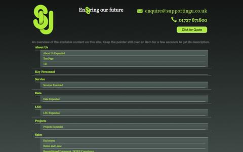 Screenshot of Site Map Page supportingu.co.uk - Supporting U - captured Oct. 8, 2014