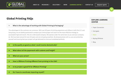 Screenshot of FAQ Page gprinting.com - FAQ's - Global Printing - captured Sept. 28, 2018