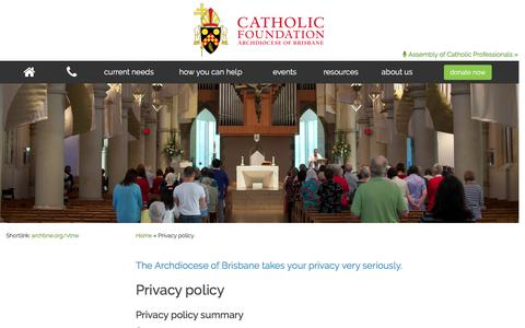 Screenshot of Privacy Page catholicfoundation.org.au - Privacy policy - Catholic Foundation - captured Oct. 27, 2016