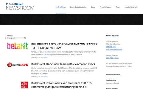 Screenshot of Press Page builddirect.com - News Articles | BuildDirect Newsroom - captured July 12, 2018