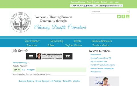 Screenshot of Jobs Page missionchamber.bc.ca - Job Search - Mission Regional Chamber of Commerce, BC - captured Feb. 7, 2018