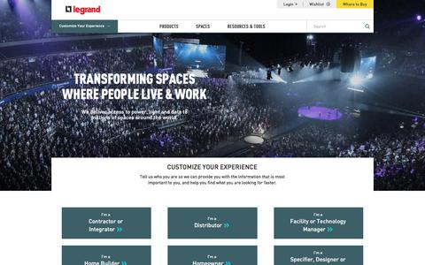 Screenshot of Home Page legrand.ca - Legrand Canada   Wire Management, Wiring Devices and Cable Management   Legrand - captured Sept. 25, 2018