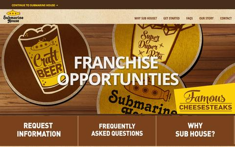 Screenshot of Home Page submarinehousefranchise.com - Submarine House Franchise | Franchise Opportunities - captured March 8, 2016