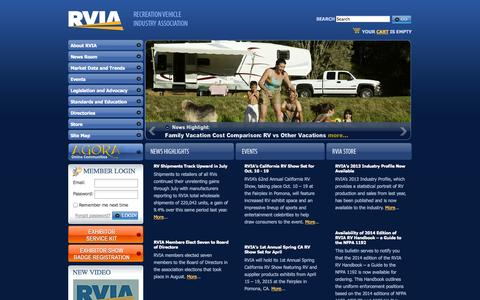 Screenshot of Home Page rvia.org - The Recreation Vehicle Industry Association: RVIA Main Site Home - captured Sept. 23, 2014