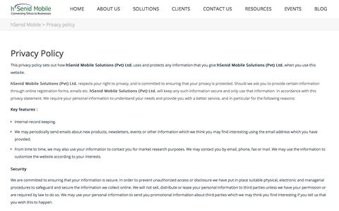 Screenshot of Privacy Page hsenidmobile.com - Privacy policy | hSenid Mobile - captured Oct. 3, 2014