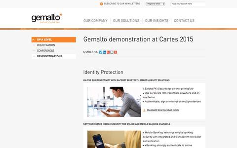 Screenshot of Demo Page gemalto.com - Gemalto Demonstrations at Cartes 2015 - captured Nov. 23, 2017