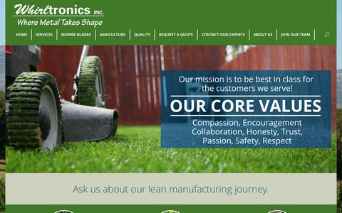 Screenshot of Home Page whirltronics.com - Metal Manufacturing | Stamping, Forming & Austemper | WhirltronicsWhirltronics Inc. - captured Oct. 6, 2014