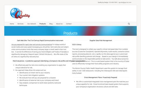 Screenshot of Products Page globalqualityconsultants.com - Products | Global Quality Consultants - captured Oct. 28, 2014
