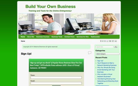 Screenshot of Home Page melaniebremner.com - Build Your Own Business - captured Oct. 6, 2014