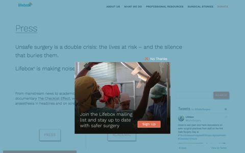 Screenshot of Press Page lifebox.org - Press - Lifebox - captured July 20, 2018