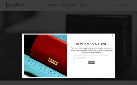 Screenshot of Home Page jafferjees.com - Jafferjees | Handcrafted Leather Goods | Key Cases and Wallets | Pakistan - captured July 26, 2018