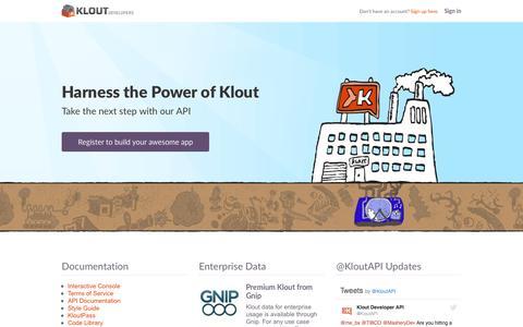 Screenshot of Developers Page klout.com - Klout | Developer Portal - captured March 29, 2016