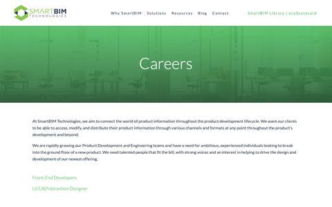 Screenshot of Jobs Page smartbimtechnologies.com - Careers – SmartBIM Technologies - captured Nov. 19, 2018