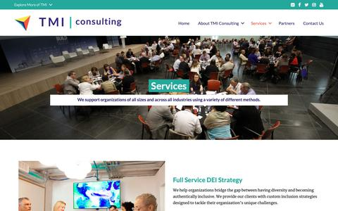 Screenshot of Services Page tmiconsultinginc.com - Services - TMI Consulting - captured Oct. 20, 2018