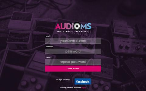 Screenshot of Signup Page audioms.com - Audioms - Indie Music Licensing - captured Sept. 30, 2014