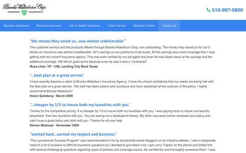 Screenshot of Testimonials Page brookswaterburn.com - What people say about Brooks-Waterburn Corp Insurance - captured Feb. 8, 2016
