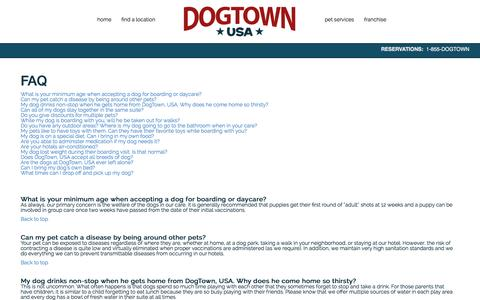 Screenshot of FAQ Page dogtownresorts.com - Dog Town USA - Dog Boarding, Cat Boarding, Dog Daycare, Pet Grooming, and Vet Services in FloridaDog Town USA Resorts - captured Oct. 5, 2014
