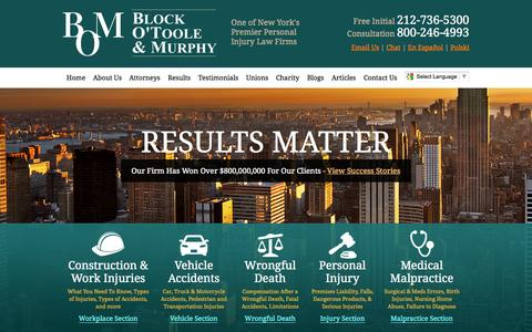 Screenshot of Home Page blockotoole.com - New York Personal Injury Lawyers   Car Accident Attorneys NYC - captured Oct. 5, 2014