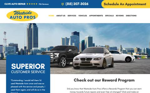 Screenshot of Home Page westsideautopros.com - Clive Auto Repair - Westside Auto Pros inc. - captured Jan. 22, 2019