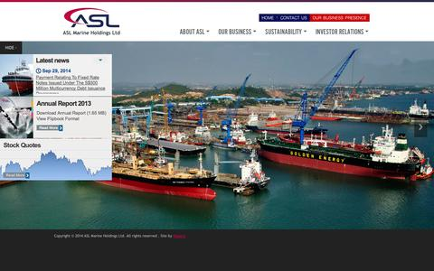Screenshot of Home Page aslmarine.com - ASL Marine Holdings Ltd - captured Oct. 4, 2014