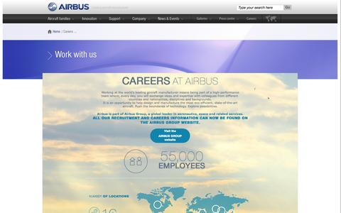 Screenshot of Jobs Page airbus.com - Airbus: A career with endless possibilities - what are you waiting for? | Airbus, a leading aircraft manufacturer - captured Oct. 21, 2015