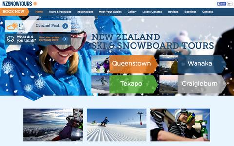 Screenshot of Home Page nzsnowtours.com - NZ Snow Tours - Personalised Ski and Snowboard Tours, New Zealand - captured Oct. 7, 2014