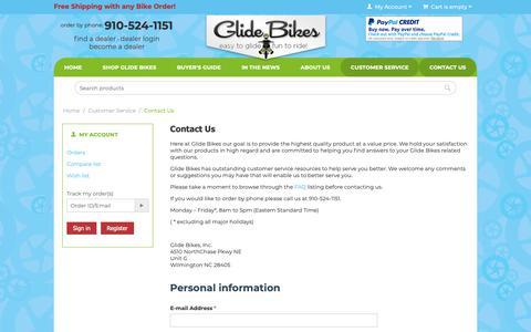 Screenshot of Contact Page glidebikes.com - Customer Service :: Contact Us - captured Sept. 28, 2018