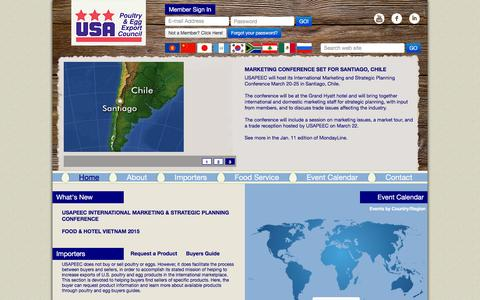 Screenshot of Home Page usapeec.org - USA Poultry and Egg Export Council - captured Feb. 14, 2016
