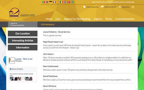 Screenshot of Testimonials Page luzcar.com - Testimonials - Algarve Car Hire | Faro Airport Lagos Rent a Car Rental, Hire Algarve | LUZCAR - captured May 13, 2017